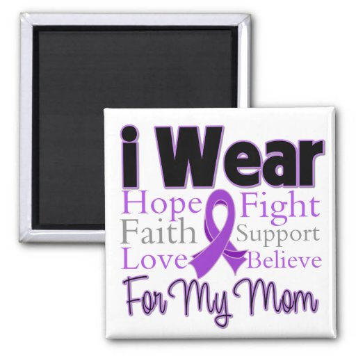 I Wear Purple Collage Mom - Pancreatic Cancer 2 Inch Square Magnet