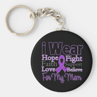 I Wear Purple Collage Mom - Pancreatic Cancer Basic Round Button Keychain