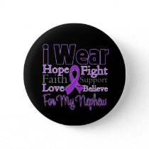I Wear Purple Collage Nephew - Pancreatic Cancer Pinback Button