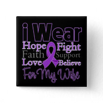 I Wear Purple Collage Wife - Pancreatic Cancer Button