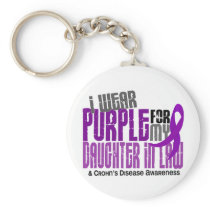 I Wear Purple Daughter-In-Law 6 Crohn's Disease Keychain