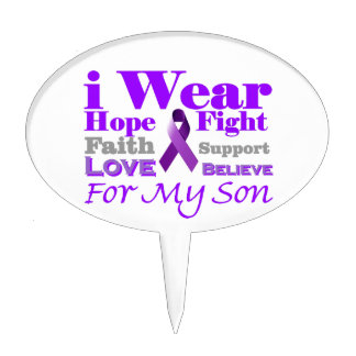 I Wear Purple (Epilepsy) for My Son Products Cake Pick