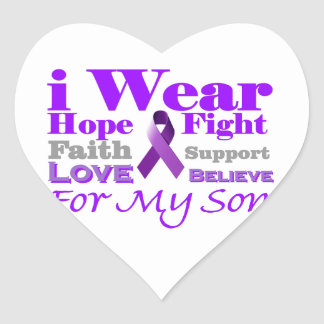I Wear Purple (Epilepsy) for My Son Products Heart Sticker