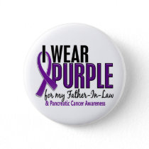 I Wear Purple Father-In-Law 10 Pancreatic Cancer Pinback Button