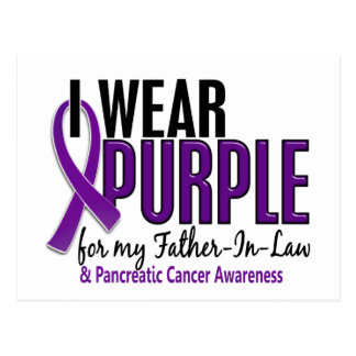 I Wear Purple Father-In-Law 10 Pancreatic Cancer Postcard
