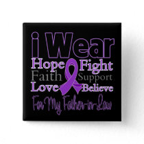 I Wear Purple Father-in-Law - Pancreatic Cancer Pinback Button