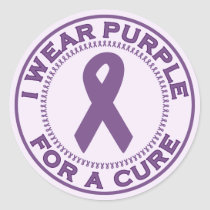 I Wear Purple For A Cure Classic Round Sticker