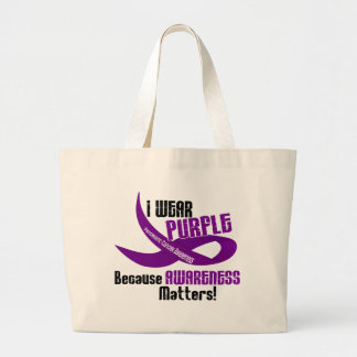 I Wear Purple For Awareness 33 PANCREATIC CANCER Large Tote Bag