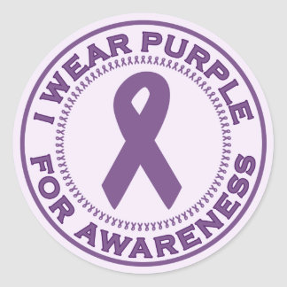 I Wear Purple For Awareness Classic Round Sticker
