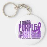 I Wear Purple For Best Friend 6.4 Cystic Fibrosis Keychain