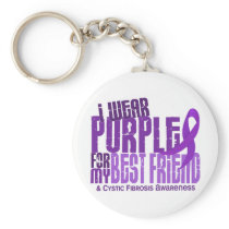 I Wear Purple For Best Friend 6.4 Cystic Fibrosis Keychain