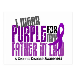 I Wear Purple For Father-In-Law 6 Crohn's Disease Postcard