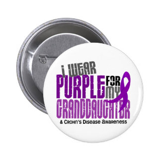 I Wear Purple For Granddaughter 6 Crohn's Disease 2 Inch Round Button