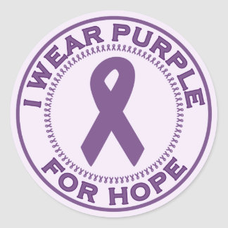 I Wear Purple For Hope Classic Round Sticker