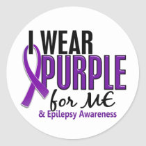 I Wear Purple For ME 10 Epilepsy Classic Round Sticker