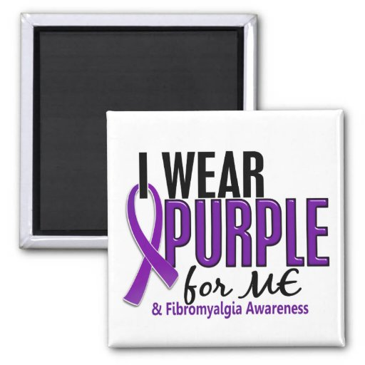 I Wear Purple For ME 10 Fibromyalgia 2 Inch Square Magnet