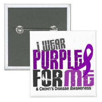 I Wear Purple For ME 6 Crohn's Disease 2 Inch Square Button