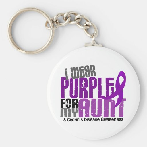 I Wear Purple For My Aunt 6 Crohn's Disease Key Chains