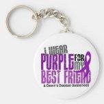 I Wear Purple For My Best Friend 6 Crohn's Disease Basic Round Button Keychain