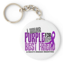 I Wear Purple For My Best Friend 6 Crohn's Disease Keychain