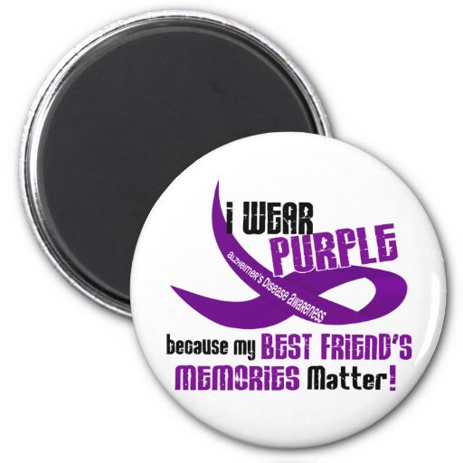 I Wear Purple For My Best Friend's Memories 33 2 Inch Round Magnet