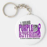 I Wear Purple For My Boyfriend 6 Crohn's Disease Key Chain