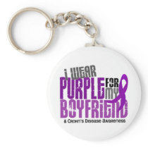 I Wear Purple For My Boyfriend 6 Crohn's Disease Keychain