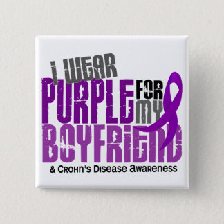 I Wear Purple For My Boyfriend 6 Crohn's Disease Pinback Button