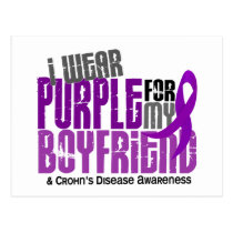 I Wear Purple For My Boyfriend 6 Crohn's Disease Postcard