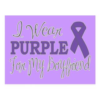 I Wear Purple For My Boyfriend (Purple Ribbon) Postcard