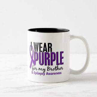 I Wear Purple For My Brother 10 Epilepsy Two-Tone Coffee Mug