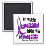 I Wear Purple For My Brother 37 Epilepsy 2 Inch Square Magnet