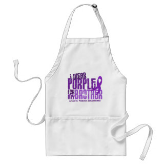 I Wear Purple For My Brother 6 4 Cystic Fibrosis Aprons