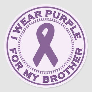 I Wear Purple For My Brother Classic Round Sticker
