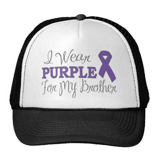 I Wear Purple For My Brother (Purple Ribbon) Hats
