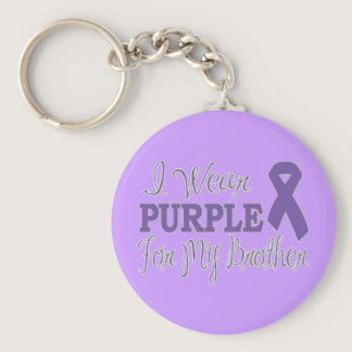 I Wear Purple For My Brother (Purple Ribbon) Keychain