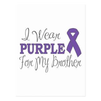 I Wear Purple For My Brother (Purple Ribbon) Postcard
