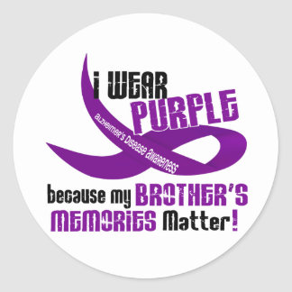 I Wear Purple For My Brother's Memories 33 Classic Round Sticker