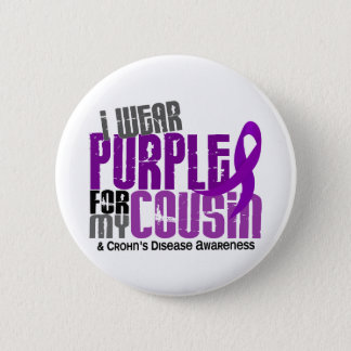 I Wear Purple For My Cousin 6 Crohn's Disease Button