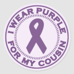 I Wear Purple For My Cousin Classic Round Sticker