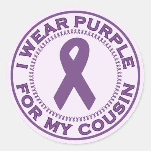 I Wear Purple For My Cousin Round Sticker