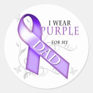 I Wear Purple for my Dad Classic Round Sticker