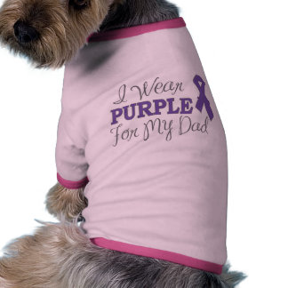 I Wear Purple For My Dad (Purple Ribbon) Doggie T Shirt