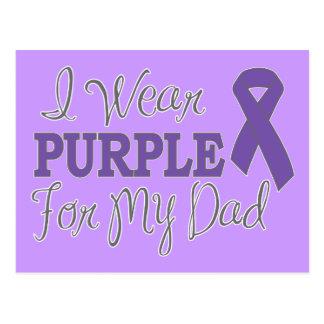 I Wear Purple For My Dad (Purple Ribbon) Postcard