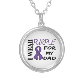 I Wear Purple For My Dad Round Pendant Necklace