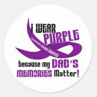 I Wear Purple For My Dad's Memories 33DAD Round Stickers