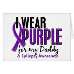 I Wear Purple For My Daddy 10 Epilepsy Greeting Cards
