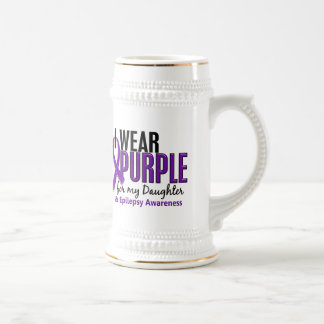 I Wear Purple For My Daughter 10 Epilepsy Beer Stein