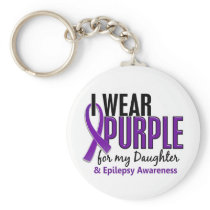 I Wear Purple For My Daughter 10 Epilepsy Keychain