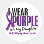 I Wear Purple For My Daughter 10 Epilepsy Round Sticker